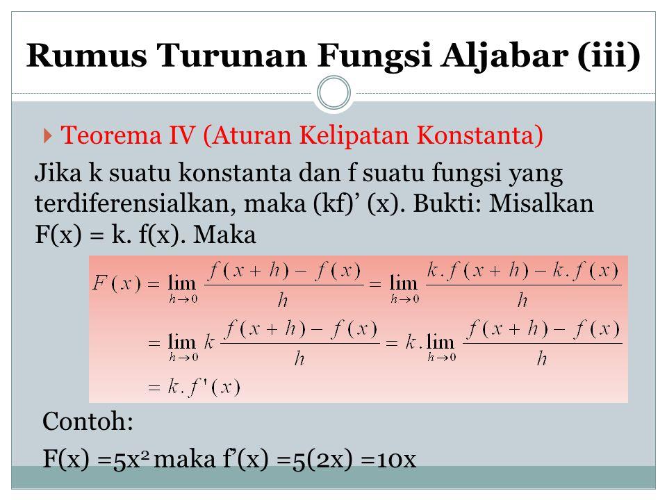 Rumus Turunan Fungsi Aljabar (iii)  Teorema IV (Aturan Kelipatan Konstanta) Jika k suatu konstanta dan f suatu fungsi yang terdiferensialkan, maka (k