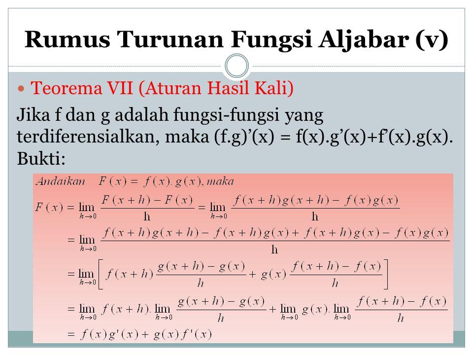 Rumus Turunan Fungsi Aljabar (v) Teorema VII (Aturan Hasil Kali) Jika f dan g adalah fungsi-fungsi yang terdiferensialkan, maka (f.g)'(x) = f(x).g'(x)
