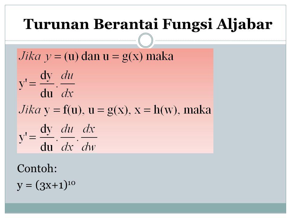 Turunan Berantai Fungsi Aljabar Contoh: y = (3x+1) 10