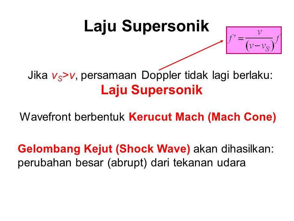 Secara umum +: menjauhi D -: mendekati D + : mendekati S -: menjauhi S Semua laju diukur relatif terhadap medium propagasi: udara  Efek Doppler secar