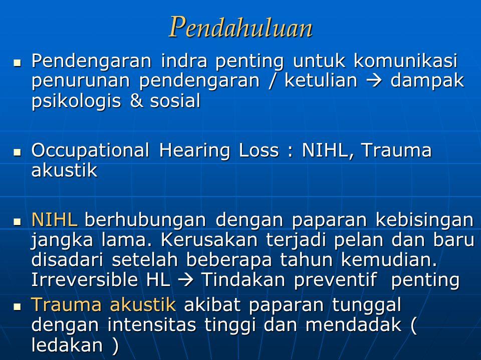 P endahuluan Pendengaran indra penting untuk komunikasi penurunan pendengaran / ketulian  dampak psikologis & sosial Pendengaran indra penting untuk