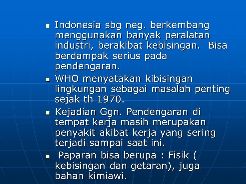 Indonesia sbg neg. berkembang menggunakan banyak peralatan industri, berakibat kebisingan. Bisa berdampak serius pada pendengaran. Indonesia sbg neg.