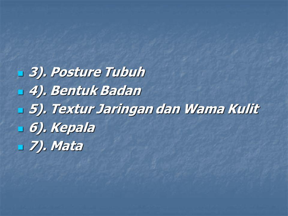 3). Posture Tubuh 3). Posture Tubuh 4). Bentuk Badan 4). Bentuk Badan 5). Textur Jaringan dan Wama Kulit 5). Textur Jaringan dan Wama Kulit 6). Kepala
