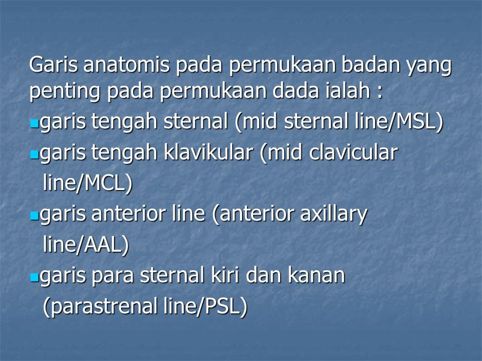 Garis anatomis pada permukaan badan yang penting pada permukaan dada ialah : garis tengah sternal (mid sternal line/MSL) garis tengah sternal (mid sternal line/MSL) garis tengah klavikular (mid clavicular garis tengah klavikular (mid clavicular line/MCL) line/MCL) garis anterior line (anterior axillary garis anterior line (anterior axillary line/AAL) line/AAL) garis para sternal kiri dan kanan garis para sternal kiri dan kanan (parastrenal line/PSL) (parastrenal line/PSL)