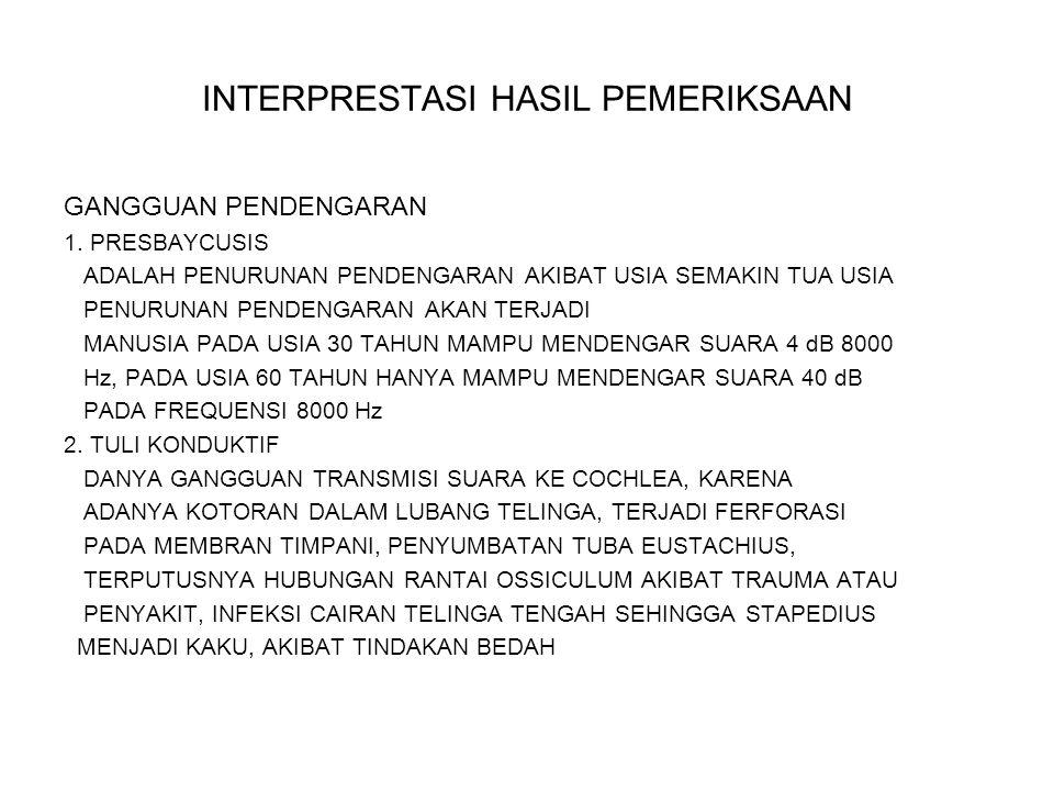 INTERPRESTASI HASIL PEMERIKSAAN 3.