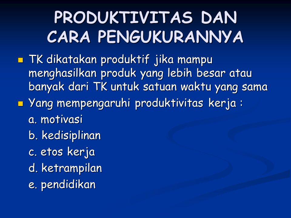 PRODUKTIVITAS DAN CARA PENGUKURANNYA TK dikatakan produktif jika mampu menghasilkan produk yang lebih besar atau banyak dari TK untuk satuan waktu yan