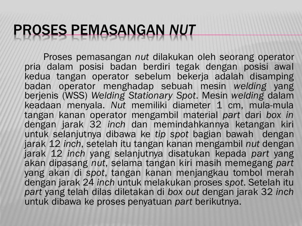 Proses pemasangan nut dilakukan oleh seorang operator pria dalam posisi badan berdiri tegak dengan posisi awal kedua tangan operator sebelum bekerja a