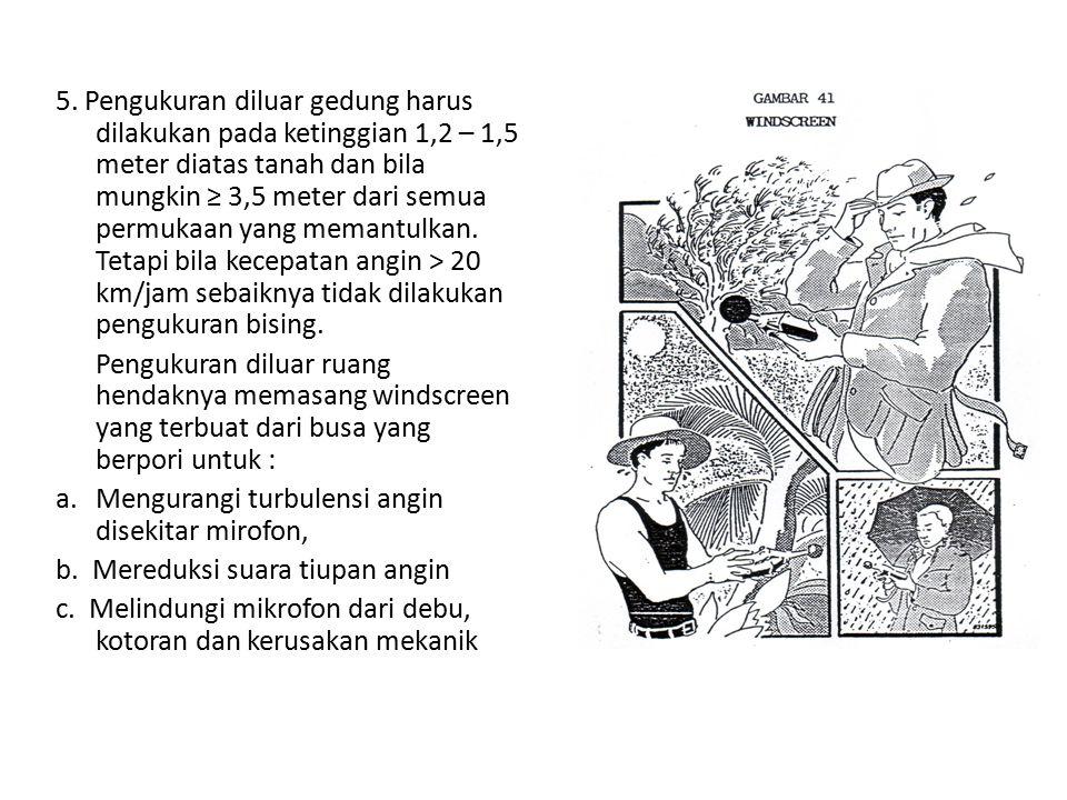 5. Pengukuran diluar gedung harus dilakukan pada ketinggian 1,2 – 1,5 meter diatas tanah dan bila mungkin ≥ 3,5 meter dari semua permukaan yang memant