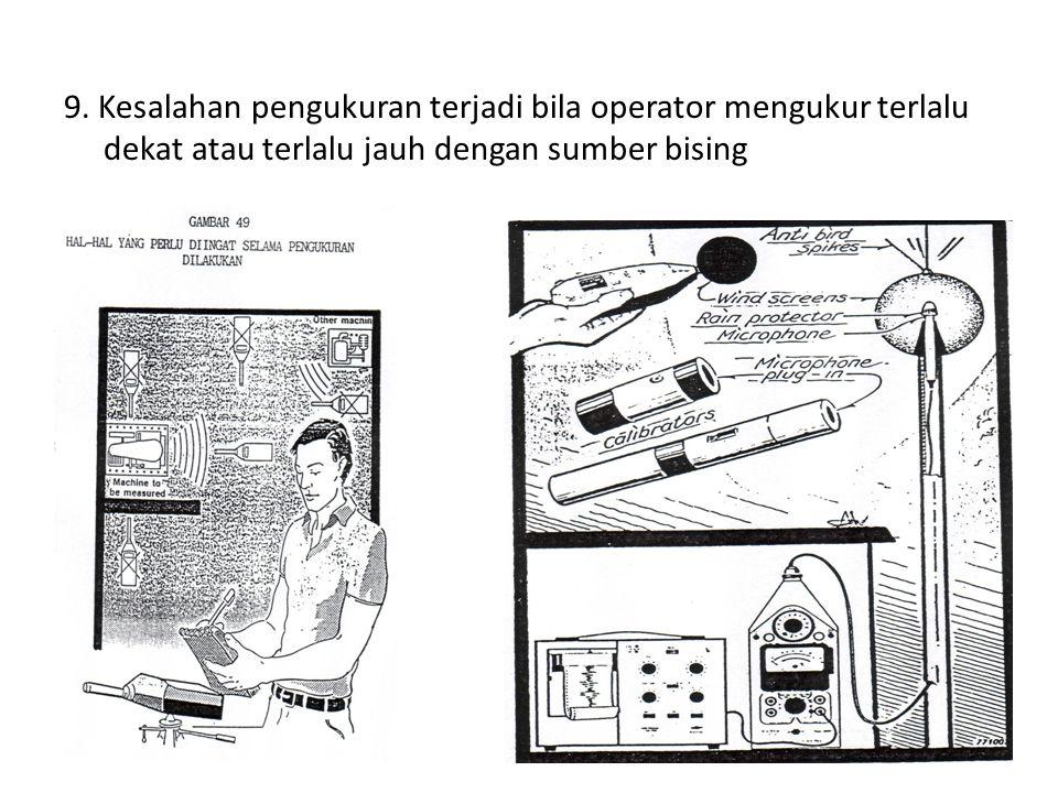 9. Kesalahan pengukuran terjadi bila operator mengukur terlalu dekat atau terlalu jauh dengan sumber bising