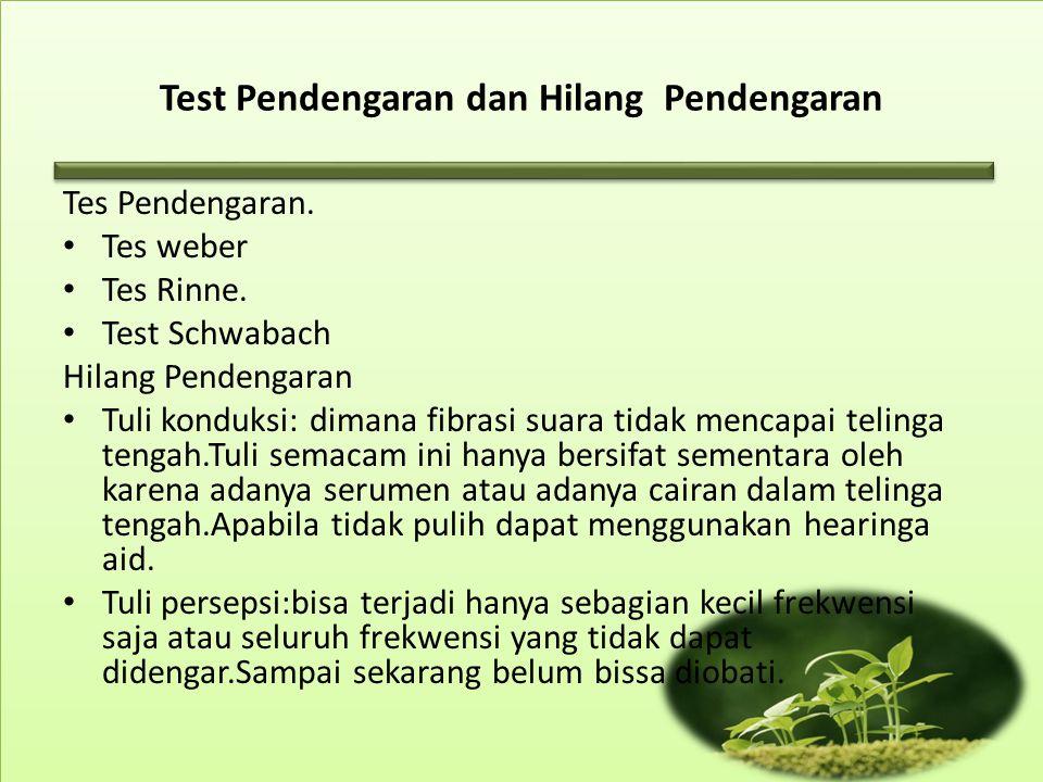 Test Pendengaran dan Hilang Pendengaran Tes Pendengaran.