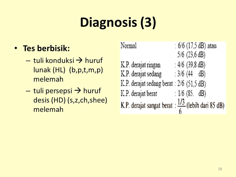 Diagnosis (3) Tes berbisik: – tuli konduksi  huruf lunak (HL) (b,p,t,m,p) melemah – tuli persepsi  huruf desis (HD) (s,z,ch,shee) melemah 18