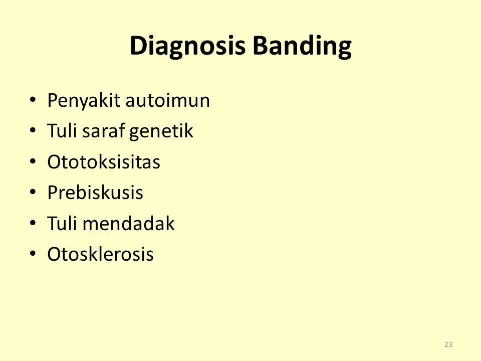 Diagnosis Banding Penyakit autoimun Tuli saraf genetik Ototoksisitas Prebiskusis Tuli mendadak Otosklerosis 23