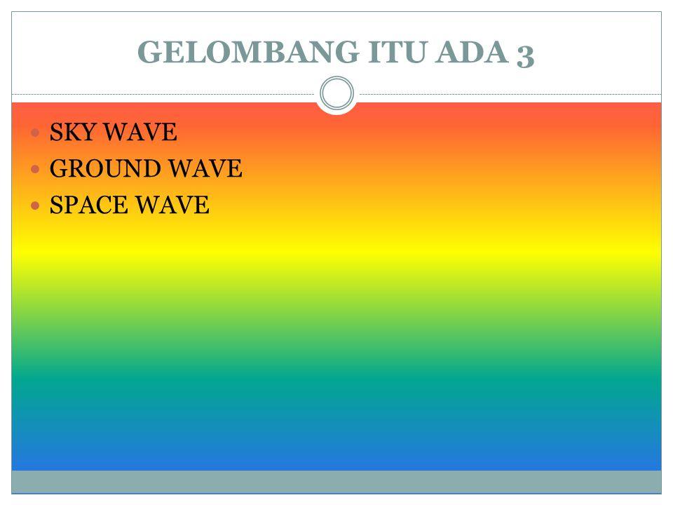 GELOMBANG ITU ADA 3 SKY WAVE GROUND WAVE SPACE WAVE