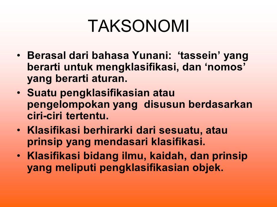 TAKSONOMI Berasal dari bahasa Yunani: 'tassein' yang berarti untuk mengklasifikasi, dan 'nomos' yang berarti aturan.