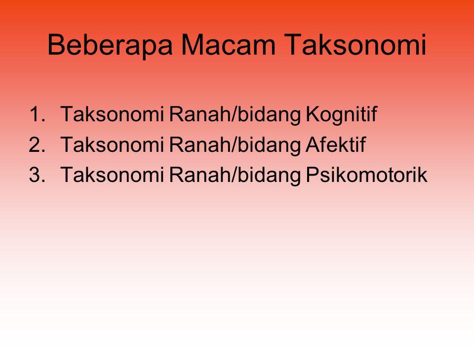Beberapa Macam Taksonomi 1.Taksonomi Ranah/bidang Kognitif 2.Taksonomi Ranah/bidang Afektif 3.Taksonomi Ranah/bidang Psikomotorik