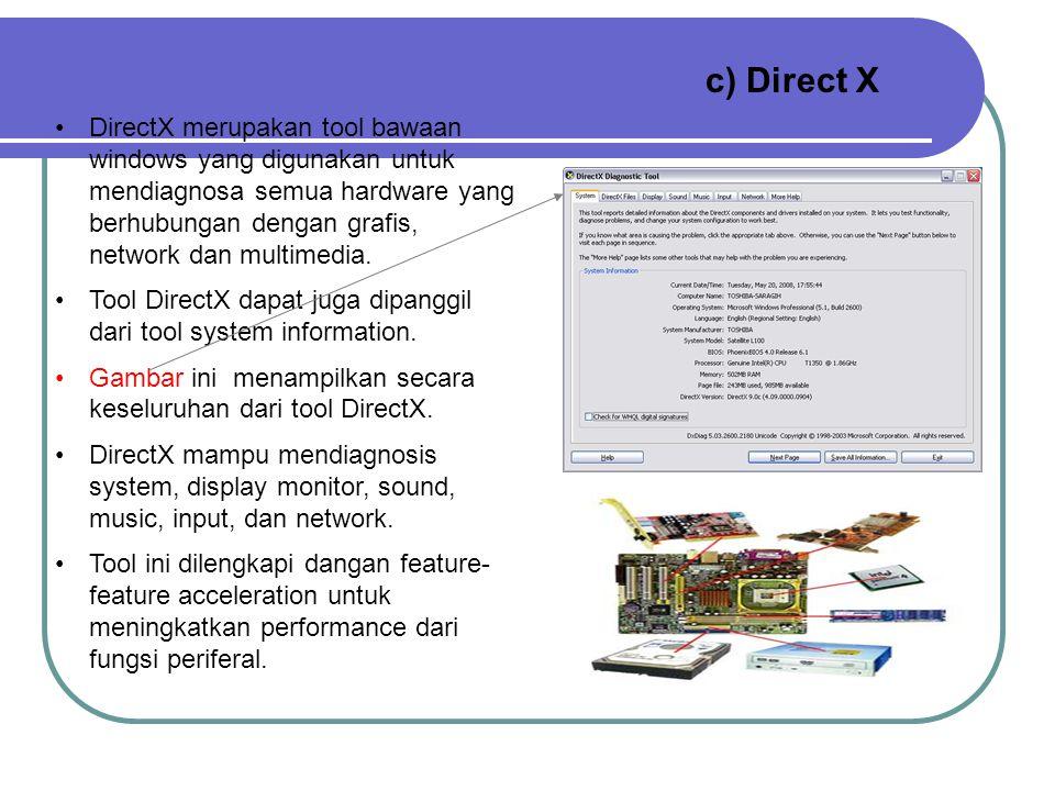 Tool System information ini dilengkapi dengan fungsi cari yang berfungsi untuk memudahkan pencarian komponen dalam komputer. Selain itu tool ini dilen