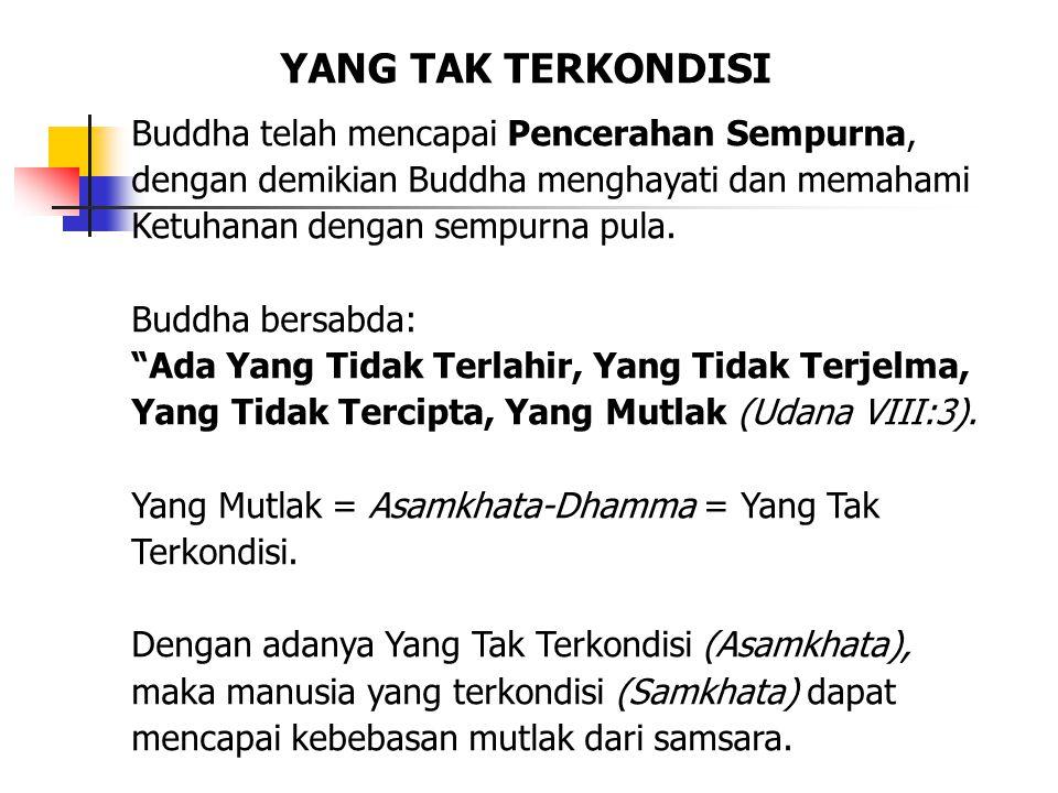 """Buddha telah mencapai Pencerahan Sempurna, dengan demikian Buddha menghayati dan memahami Ketuhanan dengan sempurna pula. Buddha bersabda: """"Ada Yang T"""
