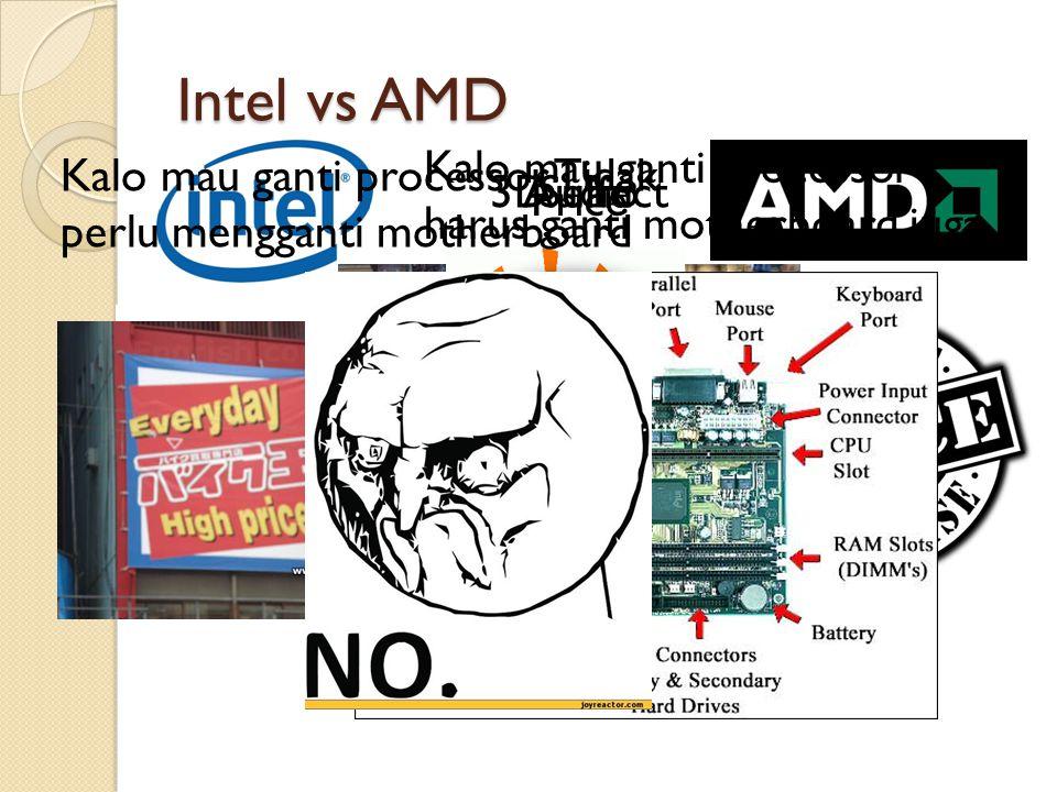 Intel vs AMD 3D effectSuhuAudio Price Kalo mau ganti processor harus ganti motherboard juga Kalo mau ganti processor Tidak perlu mengganti motherboard