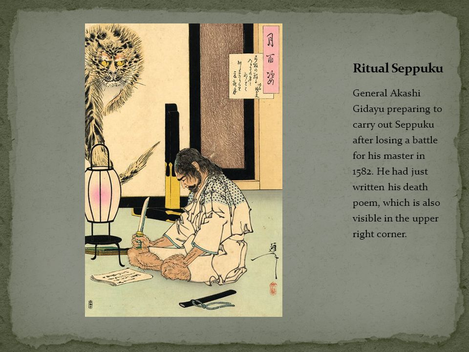 General Akashi Gidayu preparing to carry out Seppuku after losing a battle for his master in 1582. He had just written his death poem, which is also v
