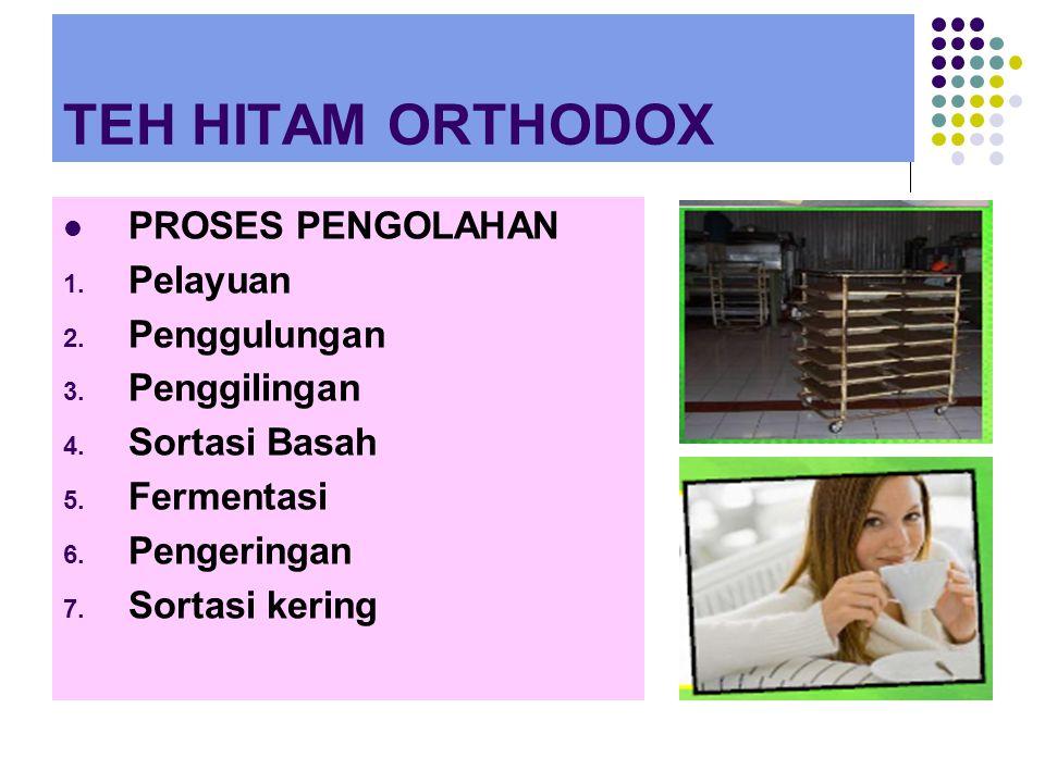 TEH HITAM ORTHODOX PROSES PENGOLAHAN 1.Pelayuan 2.