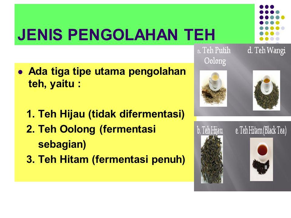 JENIS PENGOLAHAN TEH Ada tiga tipe utama pengolahan teh, yaitu : 1.