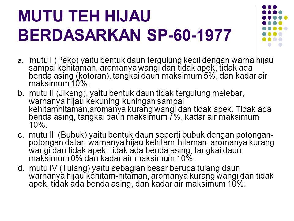 MUTU TEH HIJAU BERDASARKAN SP-60-1977 a.