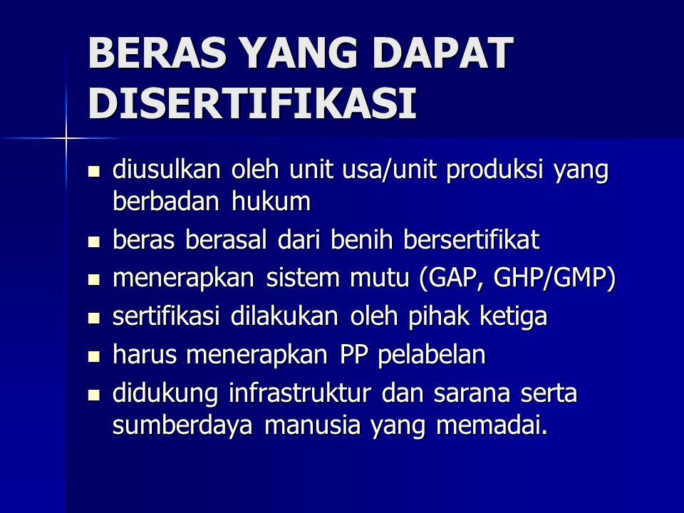 BERAS YANG DAPAT DISERTIFIKASI diusulkan oleh unit usa/unit produksi yang berbadan hukum diusulkan oleh unit usa/unit produksi yang berbadan hukum ber