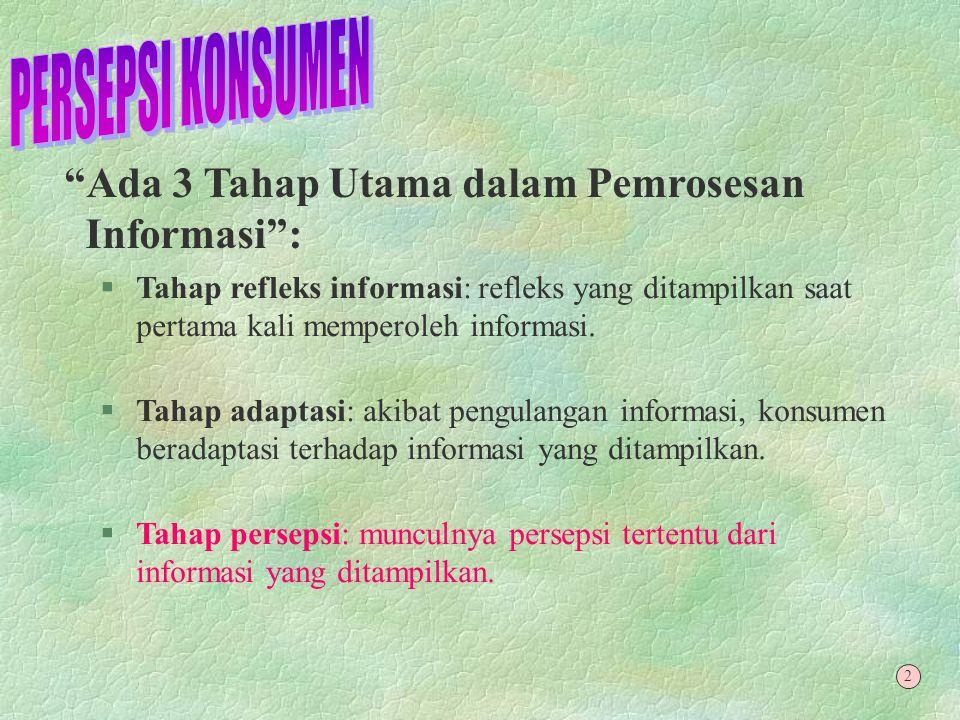 Pemrosesan Informasi : §Kunci perbedaan perilaku konsumen adalah pola pemrosesan informasi yang berbeda pada masing-masing individu.