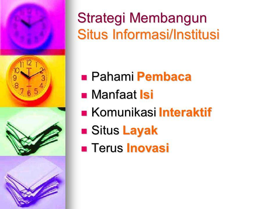Strategi Membangun Situs Informasi/Institusi Pahami Pembaca Pahami Pembaca Manfaat Isi Manfaat Isi Komunikasi Interaktif Komunikasi Interaktif Situs L