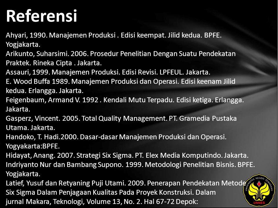 Referensi Ahyari, 1990. Manajemen Produksi. Edisi keempat. Jilid kedua. BPFE. Yogjakarta. Arikunto, Suharsimi. 2006. Prosedur Penelitian Dengan Suatu