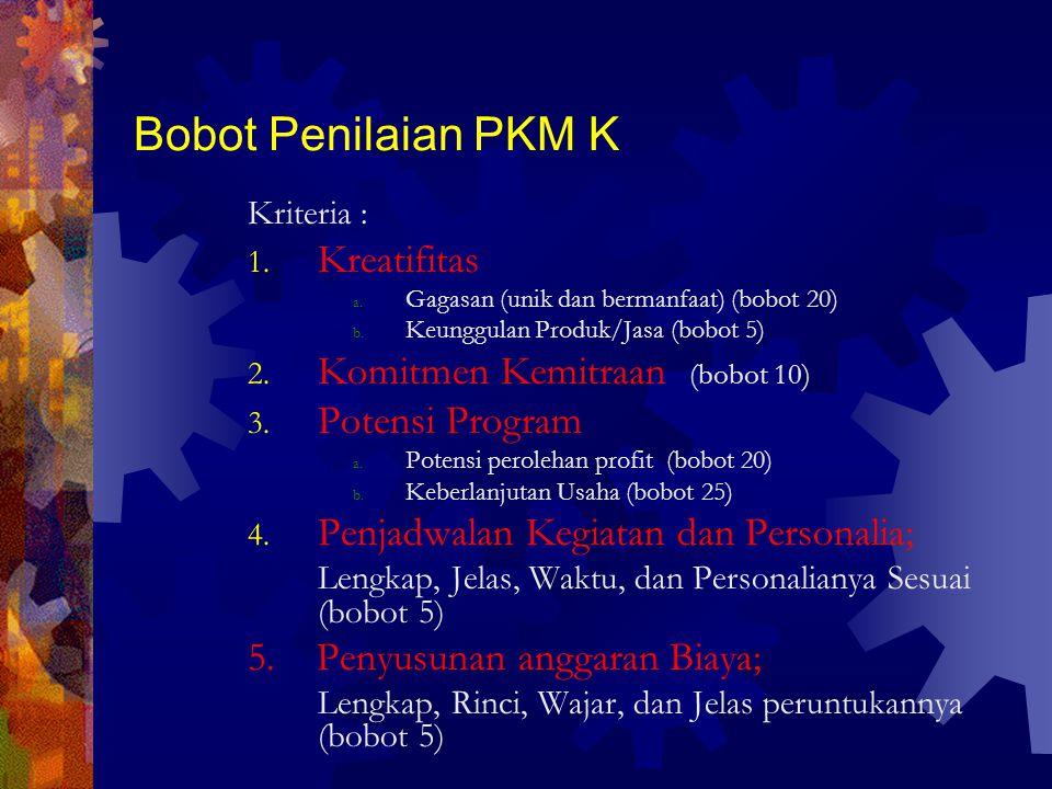 Bobot Penilaian PKM K Kriteria : 1.Kreatifitas a.