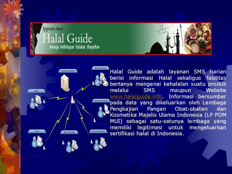 Halal Guide adalah layanan SMS harian berisi informasi Halal sekaligus fasilitas bertanya mengenai kehalalan suatu produk melalui SMS maupun Website www.halalguide.info.