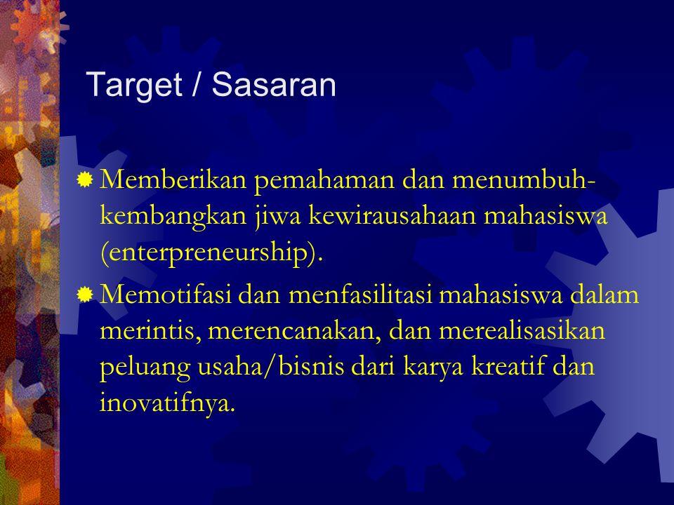 Target / Sasaran  Memberikan pemahaman dan menumbuh- kembangkan jiwa kewirausahaan mahasiswa (enterpreneurship).