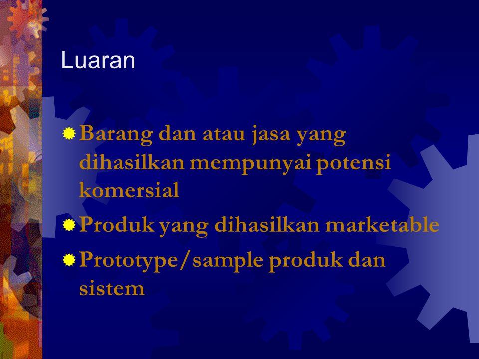 Luaran  Barang dan atau jasa yang dihasilkan mempunyai potensi komersial  Produk yang dihasilkan marketable  Prototype/sample produk dan sistem