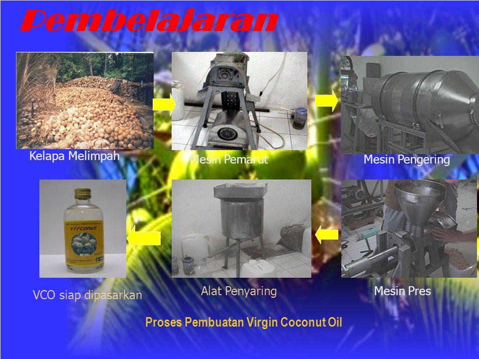 Proses Pembuatan Virgin Coconut Oil Kelapa Melimpah Mesin Pemarut Mesin Pengering Mesin PresAlat Penyaring VCO siap dipasarkan Pembelajaran