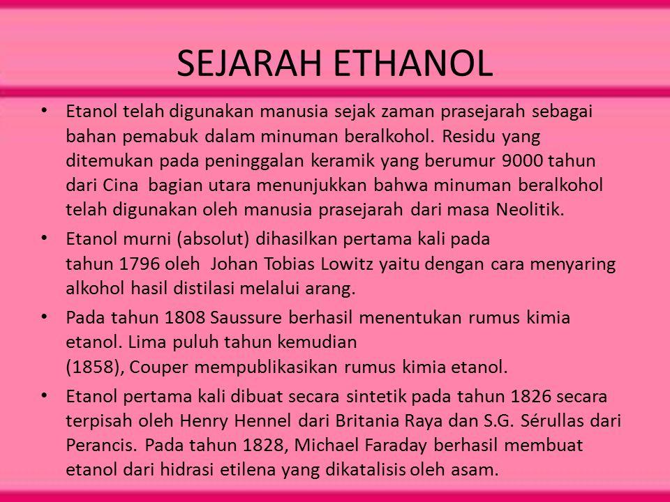 SEJARAH ETHANOL Etanol telah digunakan manusia sejak zaman prasejarah sebagai bahan pemabuk dalam minuman beralkohol. Residu yang ditemukan pada penin