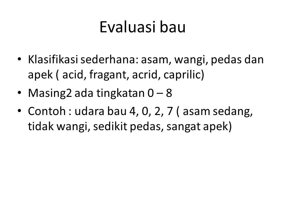 Evaluasi bau Klasifikasi sederhana: asam, wangi, pedas dan apek ( acid, fragant, acrid, caprilic) Masing2 ada tingkatan 0 – 8 Contoh : udara bau 4, 0,