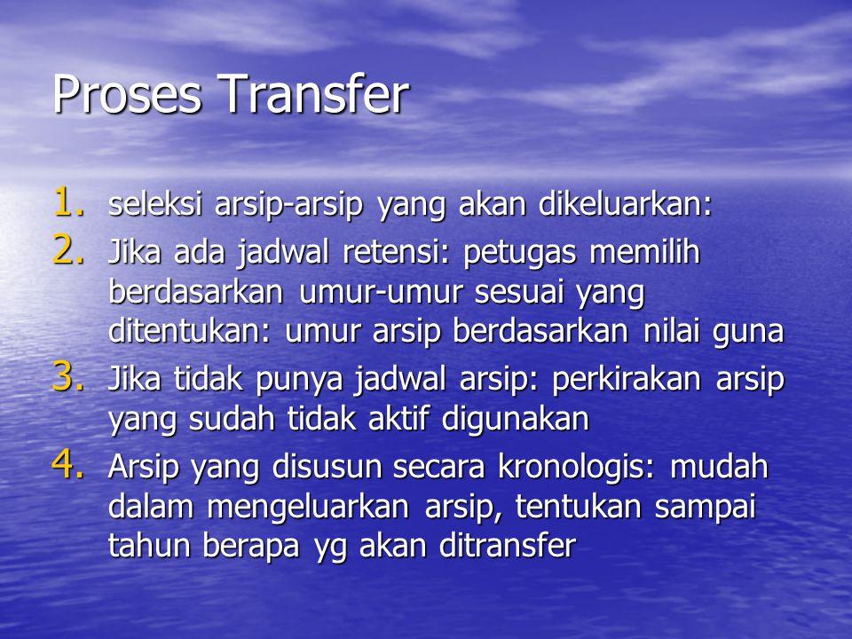 Proses Transfer 1. seleksi arsip-arsip yang akan dikeluarkan: 2. Jika ada jadwal retensi: petugas memilih berdasarkan umur-umur sesuai yang ditentukan