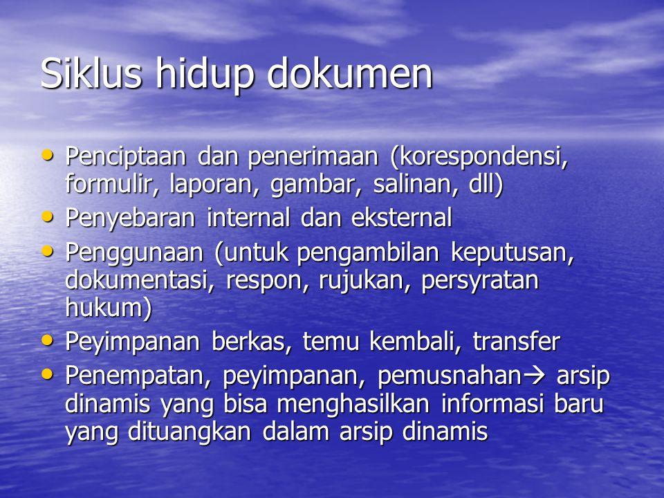 Siklus hidup dokumen Penciptaan dan penerimaan (korespondensi, formulir, laporan, gambar, salinan, dll) Penciptaan dan penerimaan (korespondensi, form