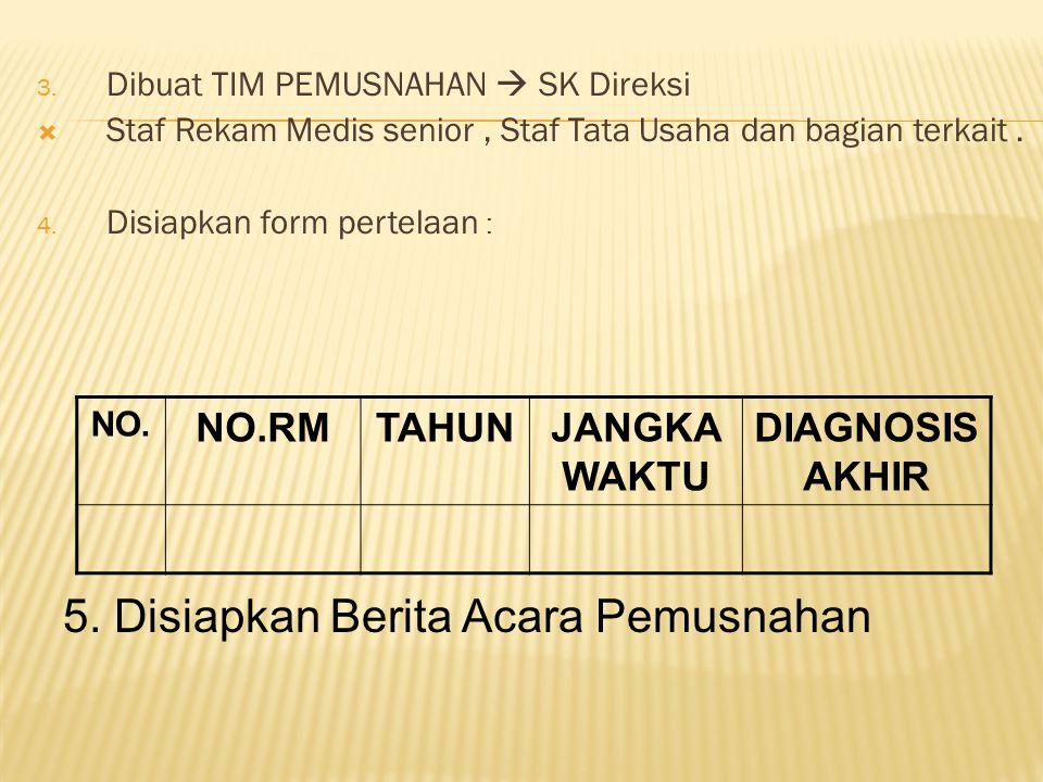 3. Dibuat TIM PEMUSNAHAN  SK Direksi  Staf Rekam Medis senior, Staf Tata Usaha dan bagian terkait. 4. Disiapkan form pertelaan : NO. NO.RMTAHUNJANGK