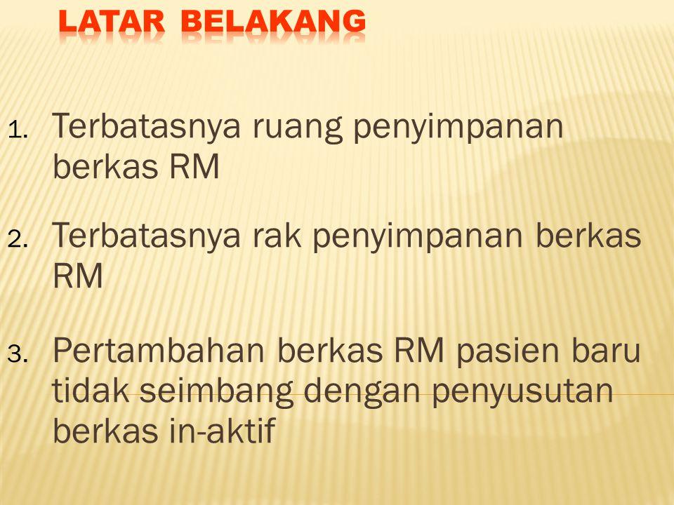 1. Terbatasnya ruang penyimpanan berkas RM 2. Terbatasnya rak penyimpanan berkas RM 3. Pertambahan berkas RM pasien baru tidak seimbang dengan penyusu