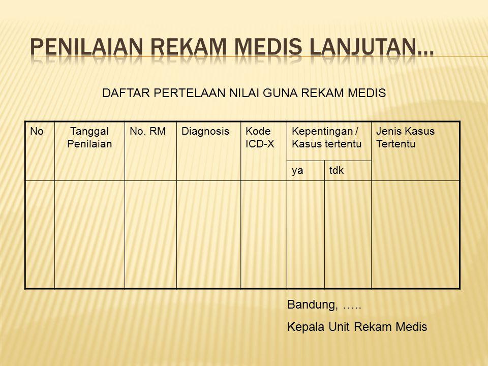 NoTanggal Penilaian No. RMDiagnosisKode ICD-X Kepentingan / Kasus tertentu Jenis Kasus Tertentu yatdk DAFTAR PERTELAAN NILAI GUNA REKAM MEDIS Bandung,