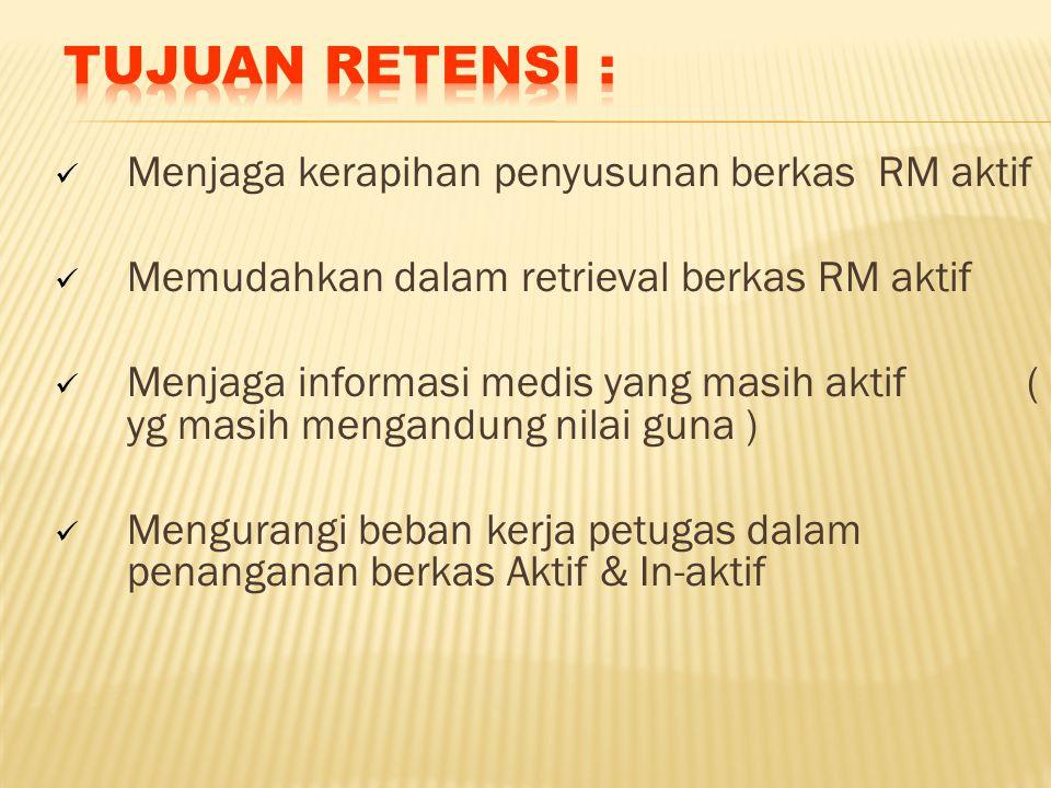 Menjaga kerapihan penyusunan berkas RM aktif Memudahkan dalam retrieval berkas RM aktif Menjaga informasi medis yang masih aktif ( yg masih mengandung