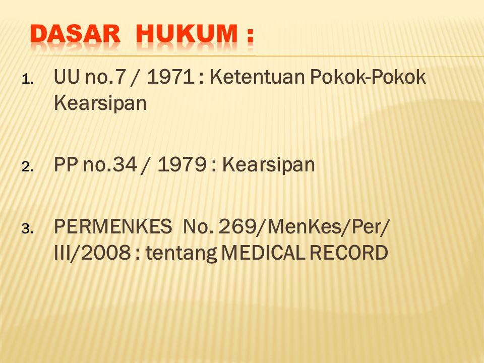 1. UU no.7 / 1971 : Ketentuan Pokok-Pokok Kearsipan 2. PP no.34 / 1979 : Kearsipan 3. PERMENKES No. 269/MenKes/Per/ III/2008 : tentang MEDICAL RECORD