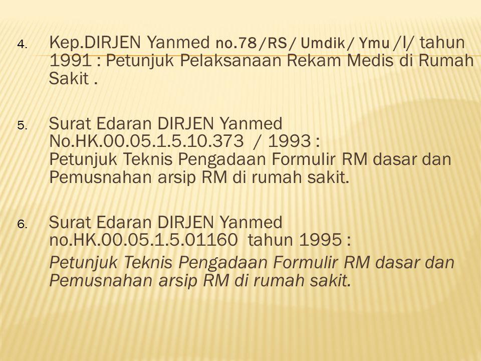 4. Kep.DIRJEN Yanmed no.78 /RS / Umdik / Ymu /I/ tahun 1991 : Petunjuk Pelaksanaan Rekam Medis di Rumah Sakit. 5. Surat Edaran DIRJEN Yanmed No.HK.00.