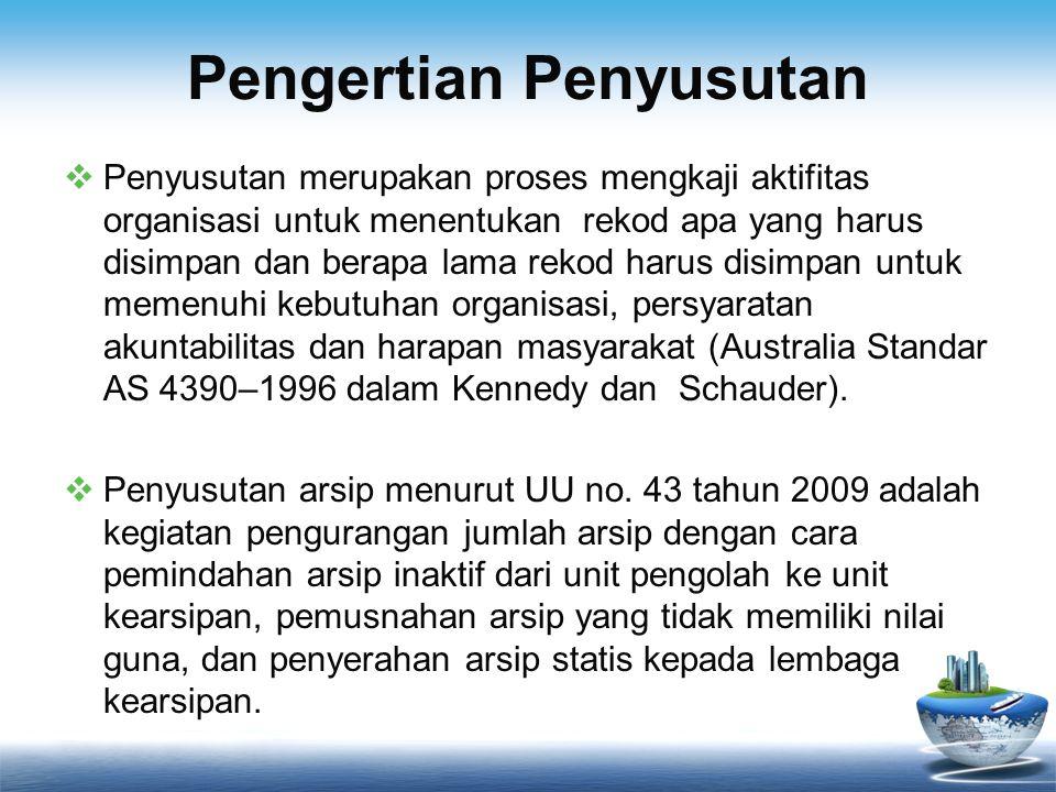 Pengertian Penyusutan  Penyusutan merupakan proses mengkaji aktifitas organisasi untuk menentukan rekod apa yang harus disimpan dan berapa lama rekod harus disimpan untuk memenuhi kebutuhan organisasi, persyaratan akuntabilitas dan harapan masyarakat (Australia Standar AS 4390–1996 dalam Kennedy dan Schauder).