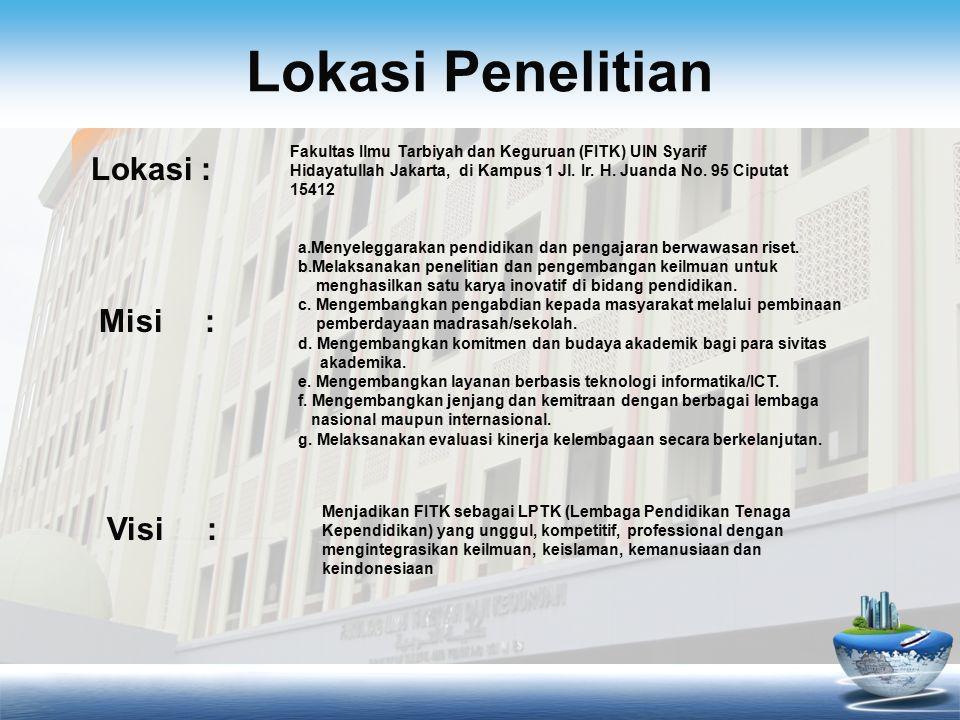 Lokasi Penelitian Fakultas Ilmu Tarbiyah dan Keguruan (FITK) UIN Syarif Hidayatullah Jakarta, di Kampus 1 Jl.