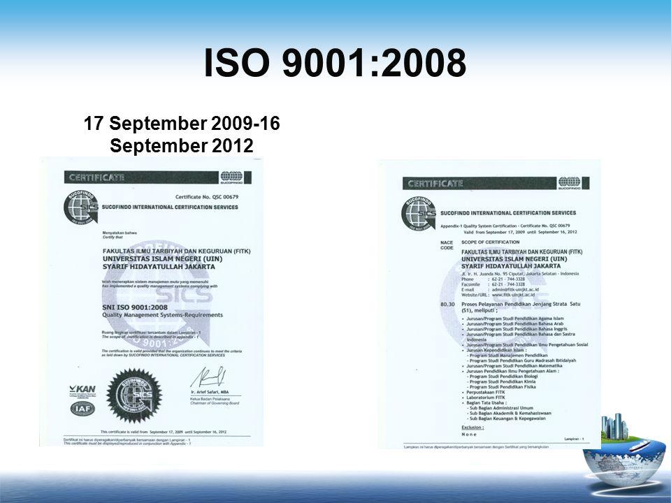 ISO 9001:2008 17 September 2009-16 September 2012