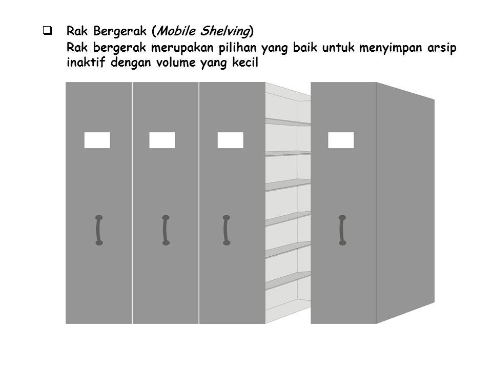  Rak Bergerak (Mobile Shelving) Rak bergerak merupakan pilihan yang baik untuk menyimpan arsip inaktif dengan volume yang kecil