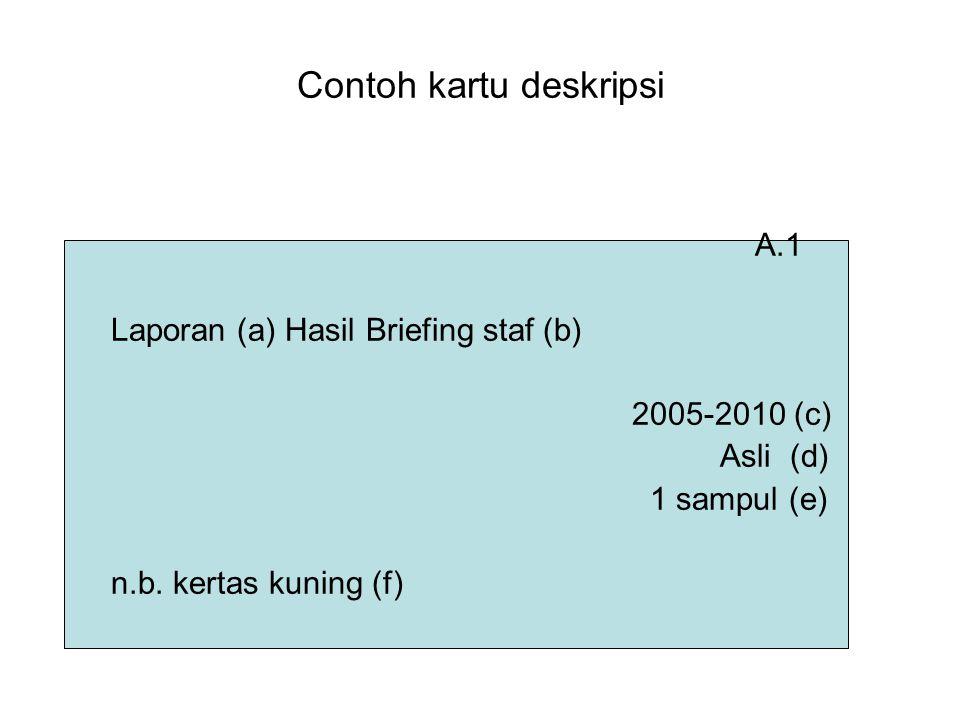 Contoh kartu deskripsi A.1 Laporan (a) Hasil Briefing staf (b) 2005-2010 (c) Asli (d) 1 sampul (e) n.b. kertas kuning (f)